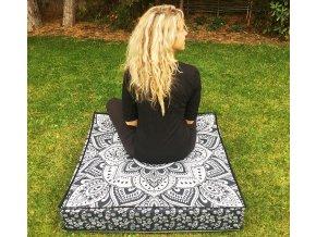 Mahari - Mandala povlak na sedací meditační indický polštář, čtvercový černo-stříbrný, bavlna, doprava zdarma