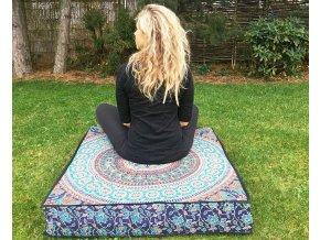 Mahari - Mandala povlak na sedací meditační indický polštář, čtvercový modro-hnědý, bavlna, doprava zdarma