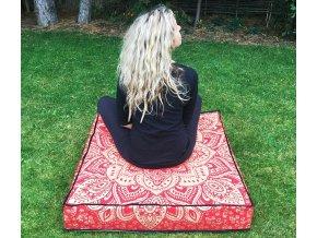 Mandala povlak na sedací meditační indický polštář, čtvercový červeno-zlatý, bavlna, doprava zdarma