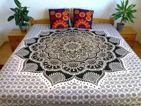 Bavlněná indická mandala  Mahari, dekorace na zeď - indický XL přehoz na postel, jóga podložka, bílo-černá, tapisérie, doprava zdarma - II. jakost