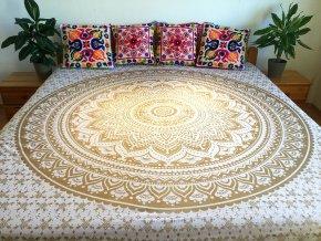 Bavlněná indická mandala, dekorace na zeď - indický XL přehoz na postel, jóga podložka, bílo-zlatá, tapisérie, doprava zdarma