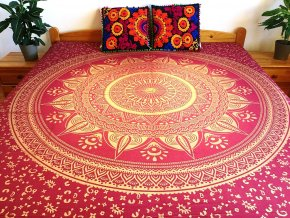 Bavlněná indická mandala, dekorace na zeď - indický XL přehoz na postel, jóga podložka, vínově-zlatá, tapisérie, doprava zdarma