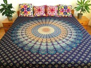 Bavlněná indická mandala, dekorace na zeď - indický XL přehoz na postel, jóga podložka, modrý hnědý páv, tapisérie, doprava zdarma