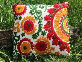 Dekorační povlak na polštář MAHARI - tradiční indická výšivka, indický meditační polštář, oranžovo červená, doprava zdarma