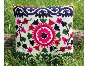 Dekorační povlak na polštář MAHARI - tradiční indická výšivka, indický meditační polštář, růžovo-modrý, doprava zdarma