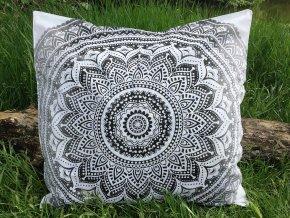 Mandala povlak na Mahari sedací meditační indický polštář, černo bílý ombre, bavlna, SADA 2ks, doprava zdarma