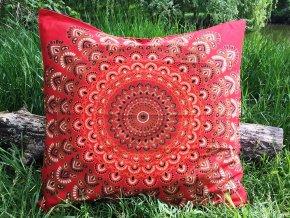 Mandala povlak na Mahari sedací meditační indický polštář, červený, bavlna, SADA 2ks, doprava zdarma