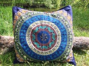 Mandala povlak na Mahari indický polštář, modrý, bavlna, SADA 2ks, doprava zdarma