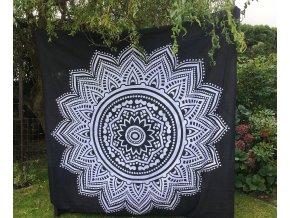 Bavlněná indická mandala  Mahari, dekorace na zeď - indický XL přehoz na postel, jóga podložka, bílo-černá, lotosový květ,, tapisérie, doprava zdarma