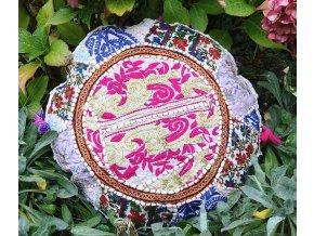 Indický patchwork relaxační dekorační povlak na polštářek MAHARI - ruční práce, podsedák bílý, DOPRAVA ZDARMA