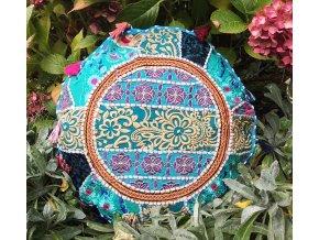 Indický patchwork relaxační dekorační povlak na polštářek MAHARI - ruční práce, podsedák modrý, DOPRAVA ZDARMA