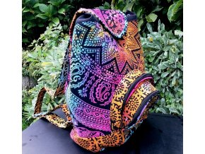 Textilní batoh Mahari s mandalou - indický baťůžek, růžový multicolor, DOPRAVA ZDARMA