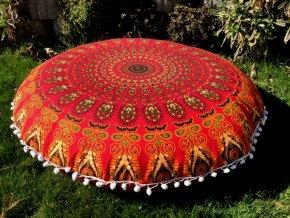Mandala povlak na sedací meditační indický polštář s pompomy, červený, bavlna, doprava zdarma