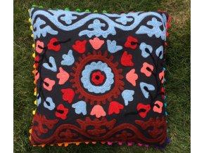 Dekorační povlak na polštář - tradiční indická výšivka, indický meditační polštář, černý, doprava zdarma