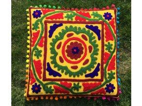 Dekorační povlak na polštář - tradiční indická výšivka, indický meditační polštář, žlutý, doprava zdarma