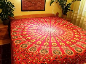 Mandala, plážová deka,  textilní dekorace na zeď - XXL přehoz na postel, tapisérie, jóga podložka, bavlna, doprava zdarma