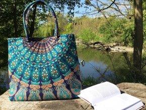 Textilní taška  Mahari s mandalou - velká kabelka, plážová taška, indická taška, DOPRAVA ZDARMA