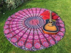 Mandala - jóga podložka, indický přehoz přes postel, ubrus, plážová deka, pikniková podložka, bavlna, doprava zdarma!