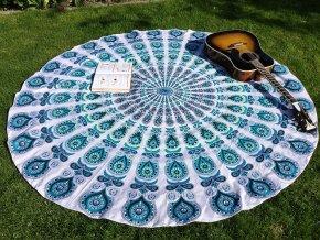 Mandala - jóga podložka, přehoz na postel, deka na pláž, indická pikniková podložka, bavlna, doprava zdarma, II. jakost