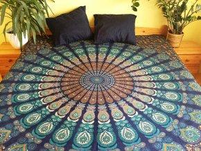 Mahari - Mandala textilní dekorace na zeď - velký indický přehoz na postel, jóga podložka, tapisérie, bavlna, doprava zdarma