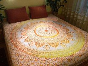 Bavlněná mandala, dekorace na zeď - XXL přehoz na postel, jóga podložka, tapisérie, doprava zdarma - II. jakost