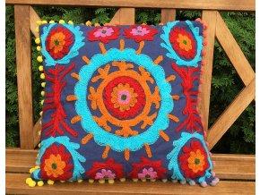 Dekorační povlak na polštář - tradiční indická výšivka, indický meditační polštář, modro-červený, doprava zdarma