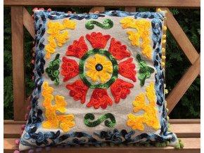 Dekorační povlak na polštář - tradiční indická výšivka, indický meditační polštář, béžovo-žlutý, doprava zdarma