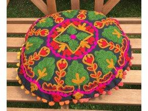 Dekorační povlak na polštář - tradiční indická výšivka, indický meditační polštář, kulatý zeleno-růžový, doprava zdarma