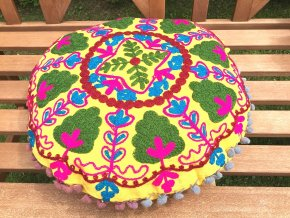 Dekorační povlak na polštář - tradiční indická výšivka, indický meditační polštář, kulatý žluto-zelený, doprava zdarma