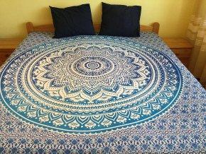 Bavlněná mandala, dekorace na zeď - XL přehoz na postel, jóga podložka, ombré, tapisérie, doprava zdarma
