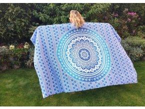 Mandala textilní dekorace na zeď - přehoz přes postel, jóga podložka, tapisérie, bavlna, doprava zdarma, modrý ombré