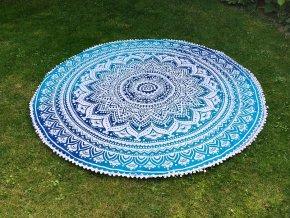 Mandala - Mahari podložka, přehoz, deka na pláž, pikniková podložka, bavlna, modrá ombré, doprava zdarma, II. jakost