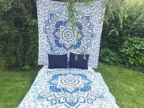 Bavlněná mandala, dekorace na zeď - XL přehoz na postel, jóga podložka, lotos, tapisérie, doprava zdarma, modrá mandala