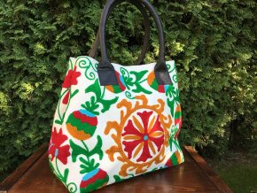 Indická kabelka vyšívaná - textilní taška, vyšívaná taška mandala, oranžovo-zelená, DOPRAVA ZDARMA
