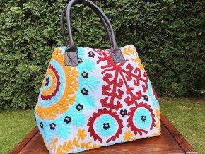 Mahari - Indická kabelka - indická taška s mandalou, textilní kabelka, taška z Indie, modro-červená, DOPRAVA ZDARMA