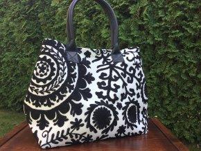 Indická kabelka textilní - indická taška s mandalou, vyšívaná kabelka, taška z Indie, bílo-černá, DOPRAVA ZDARMA