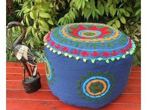 Indický vyšívaný puf taburet - ruční práce, podsedák, sedací pytel, sedací taburet z Indie, modrý, DOPRAVA ZDARMA