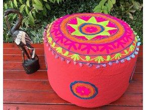 Indický vyšívaný puf taburet - ruční práce, podsedák, sedací pytel, sedací taburet z Indie, růžový, DOPRAVA ZDARMA