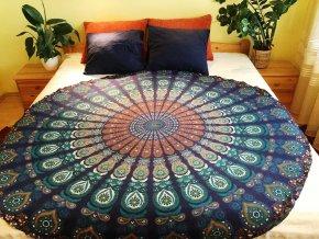 Mandala - jóga podložka, kulatý přehoz na postel, deka na pláž, pikniková podložka, bavlna, modrá, doprava zdarma - II. jakost