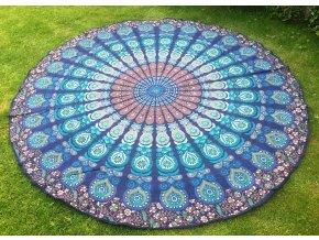 Mandala - jóga podložka, kulatý přehoz na postel, deka na pláž, pikniková podložka, bavlna, modrá, doprava zdarma