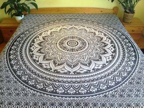 Bavlněná mandala, dekorace na zeď - XL přehoz na postel, jóga podložka, černo-šedá, tapisérie, doprava zdarma