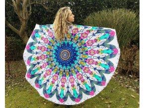 Mandala psychedelic, přehoz přes postel, jóga podložka, plážová deka kulatá, ubrus, bavlna, doprava zdarma