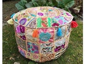 Indický patchwork puf taburet - ruční práce, podsedák, sedací pytel, sedací taburet z Indie, béžový, DOPRAVA ZDARMA