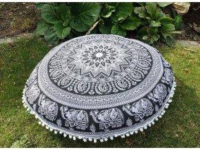 Mandala povlak na sedací meditační indický polštář s pompomy, černý slon, bavlna, doprava zdarma