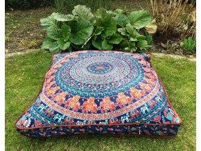 Mandala povlak na sedací meditační indický polštář, čtvercový se slony, bavlna, doprava zdarma
