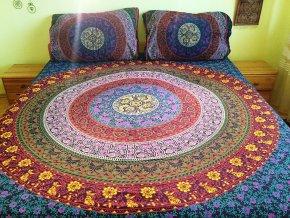 Bavlněná indická mandala, dekorace na zeď - indický přehoz na manželskou postel, jóga podložka, závěs, modro-fialová, tapisérie, doprava zdarma, 2.jakost