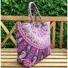 Mahari textilní taška s mandalou - velká kabelka, plážová taška, indická kabelka, fialová, DOPRAVA ZDARMA