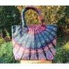 Mahari - Textilní taška s mandalou - fialovo-modrá, velká kabelka, plážová taška, indická kabelka, DOPRAVA ZDARMA