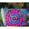 Mahari - Indická kabelka textilní - indická taška s mandalou, vyšívaná kabelka, taška z Indie, modro-růžová, DOPRAVA ZDARMA