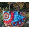 Mahari Indická kabelka textilní - indická taška s mandalou, vyšívaná kabelka, taška z Indie, modro-červená, DOPRAVA ZDARMA